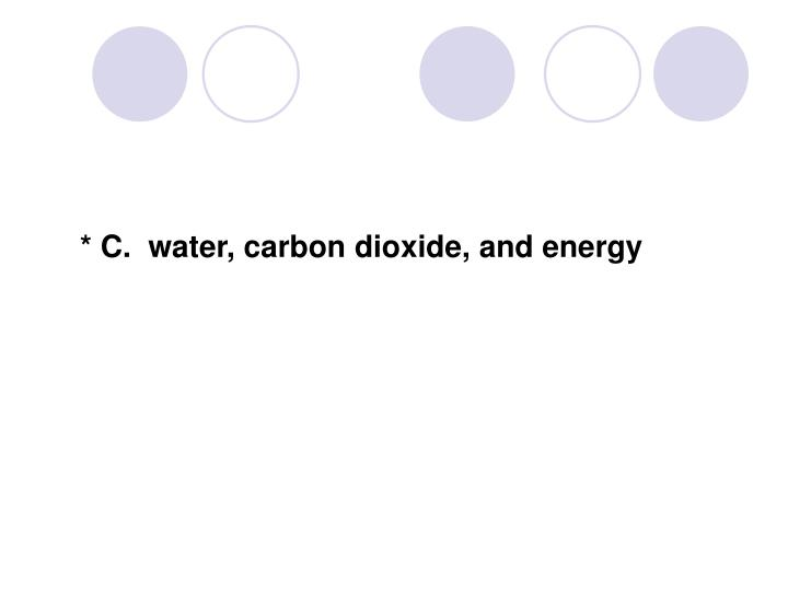 * C.  water, carbon dioxide, and energy