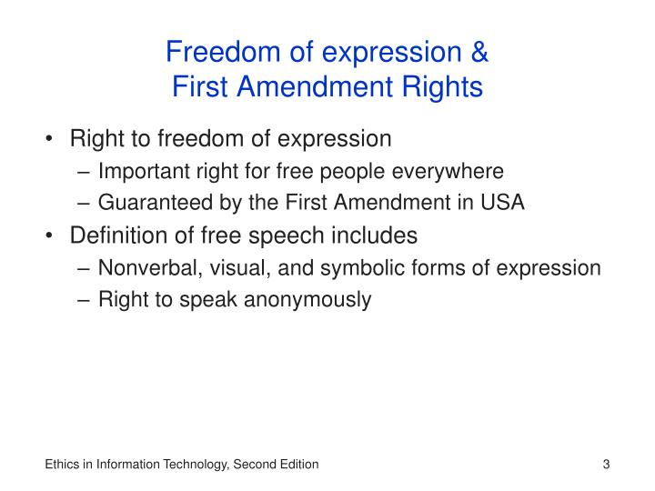 an interpretation of the us first amendment in regards to freedom of expression The first amendment to the us constitution says that congress shall make no law respecting an establishment of religion, or prohibiting the free exercise thereof or abridging the freedom of speech, or of the press or the right of the people peaceably to assemble, and to petition the government for a redress of grievances.