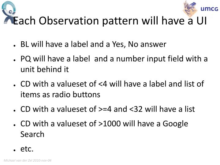 Each Observation pattern will have a UI