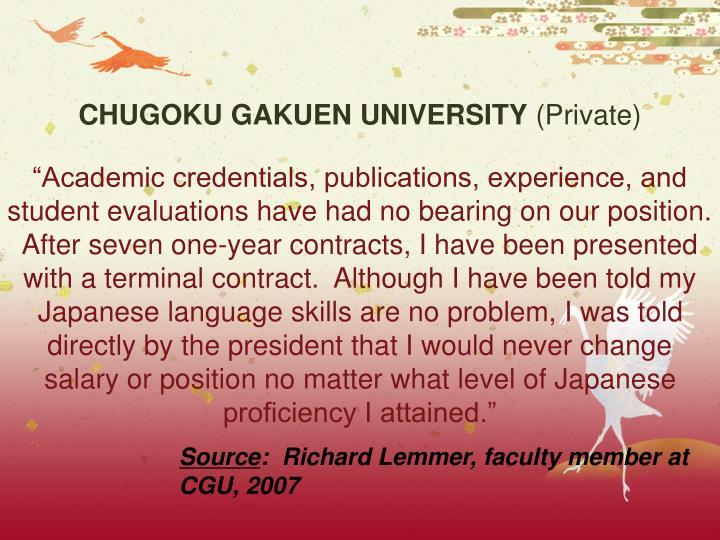 CHUGOKU GAKUEN UNIVERSITY