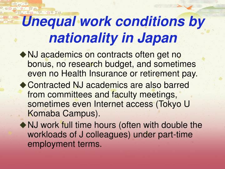 Unequal work conditions by nationality in Japan