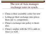 the rest of asia manages exchange rates in synch