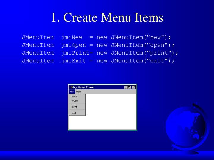 1. Create Menu Items