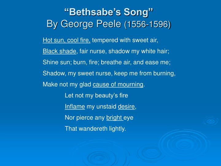 """Bethsabe's Song"""