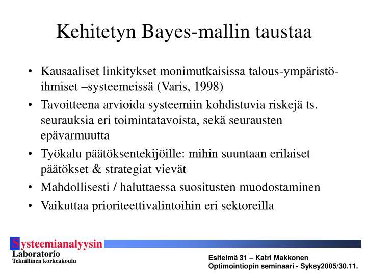 Kehitetyn Bayes-mallin taustaa