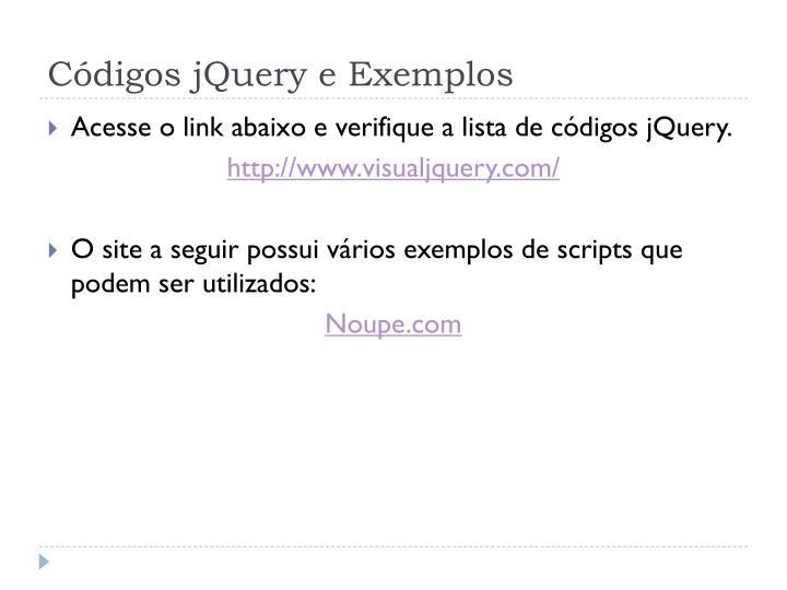 Códigos jQuery e Exemplos