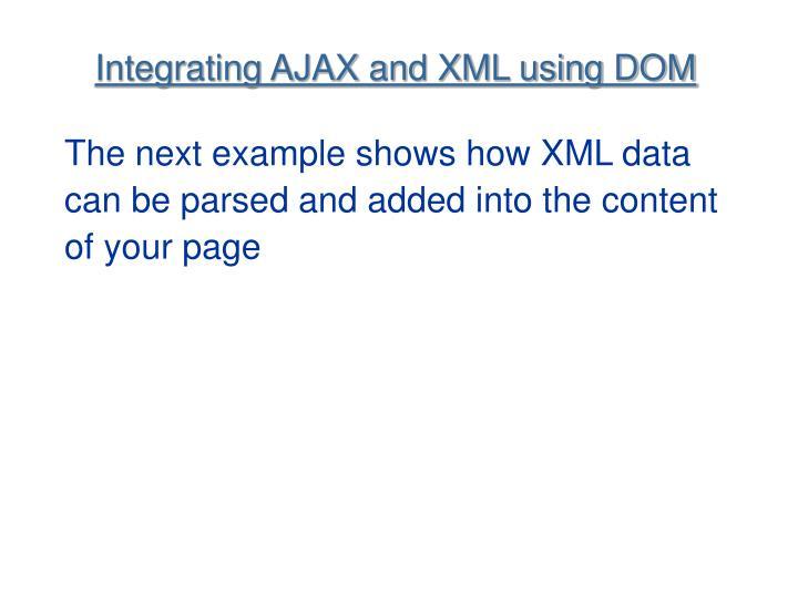 Integrating AJAX and XML using DOM