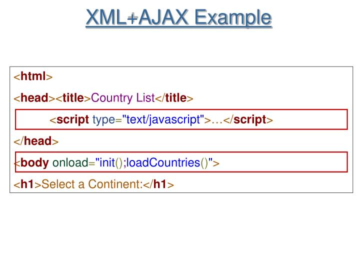 XML+AJAX Example