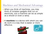 machines and mechanical advantage