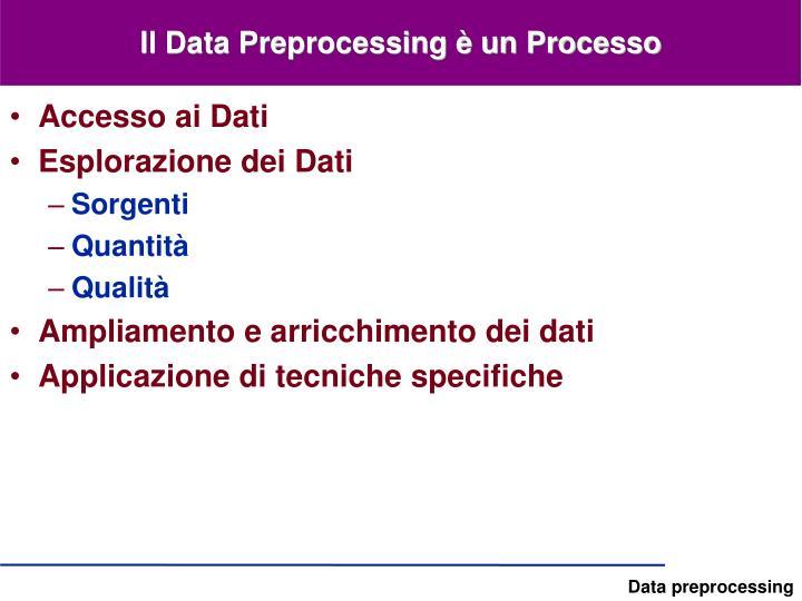 Il Data Preprocessing è un Processo