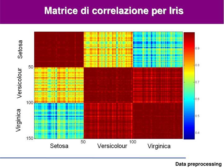 Matrice di correlazione per Iris