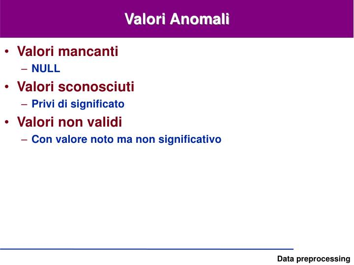 Valori Anomali