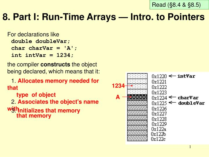 8 part i run time arrays intro to pointers