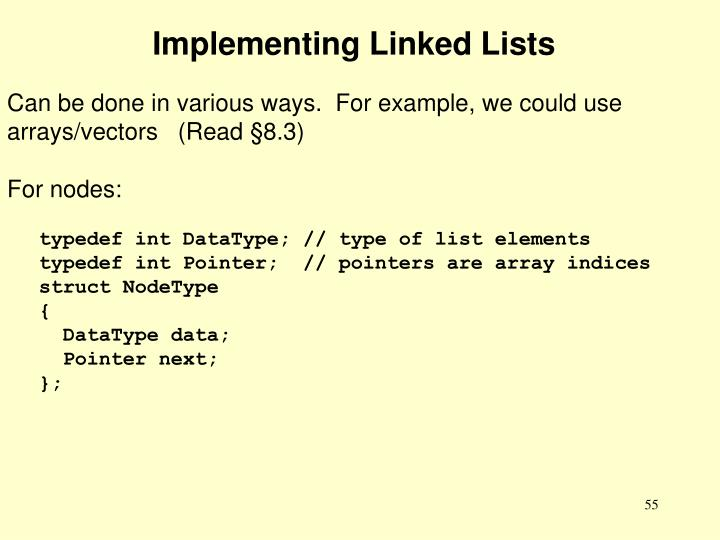 Implementing Linked Lists