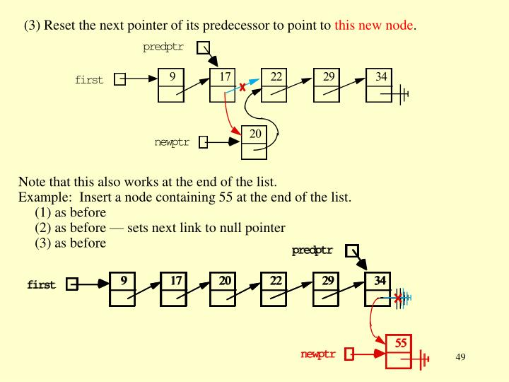 (3) Reset the next pointer of its predecessor to point to
