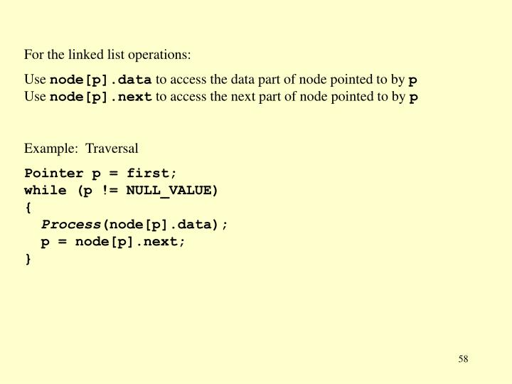 For the linked list operations: