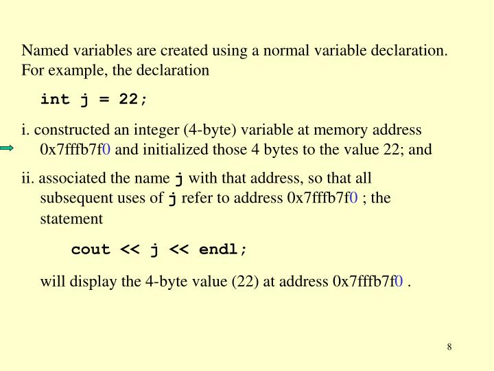 Named variables are created using a normal variable declaration.