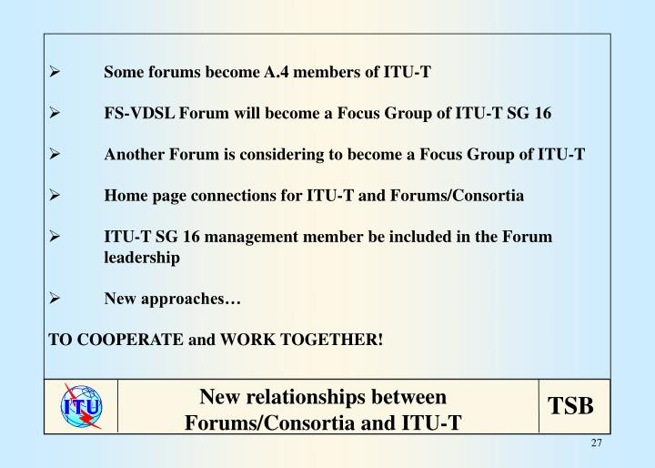 Some forums become A.4 members of ITU-T