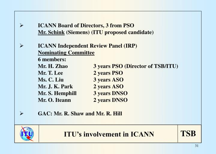 ICANN Board of Directors, 3 from PSO