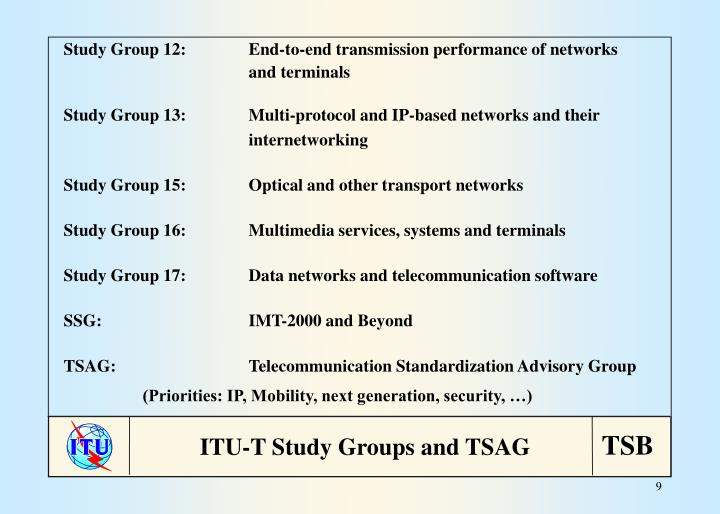 Study Group 12:End-to-end transmission performance of networks