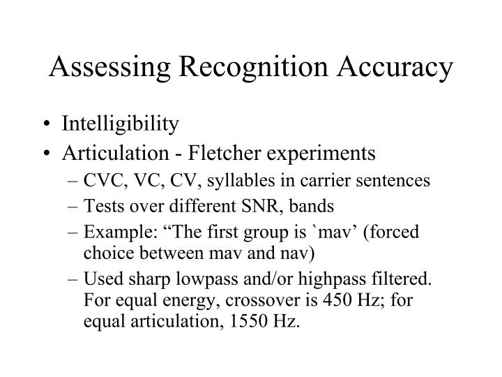 Assessing Recognition Accuracy