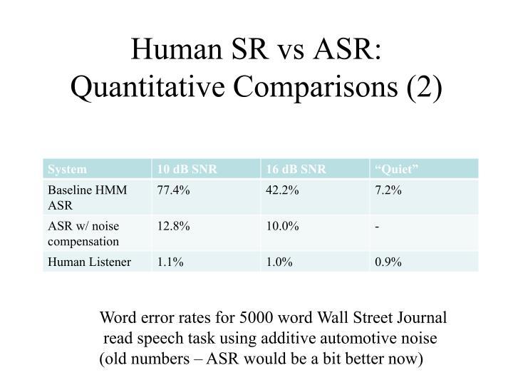 Human SR vs ASR: