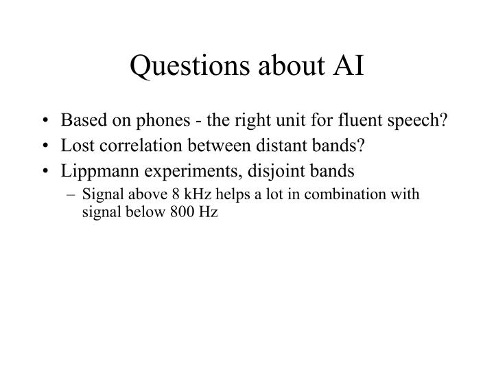 Questions about AI