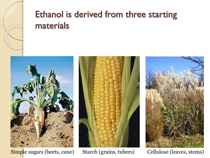 Ethanol is derived from three starting materials