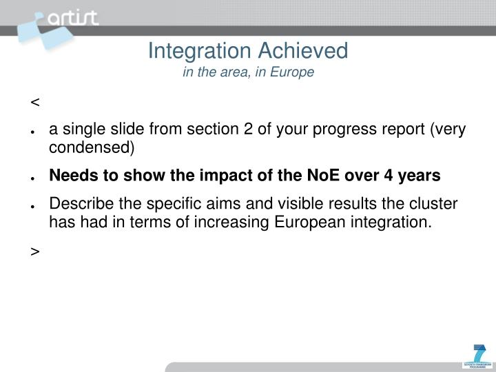 Integration achieved in the area in europe