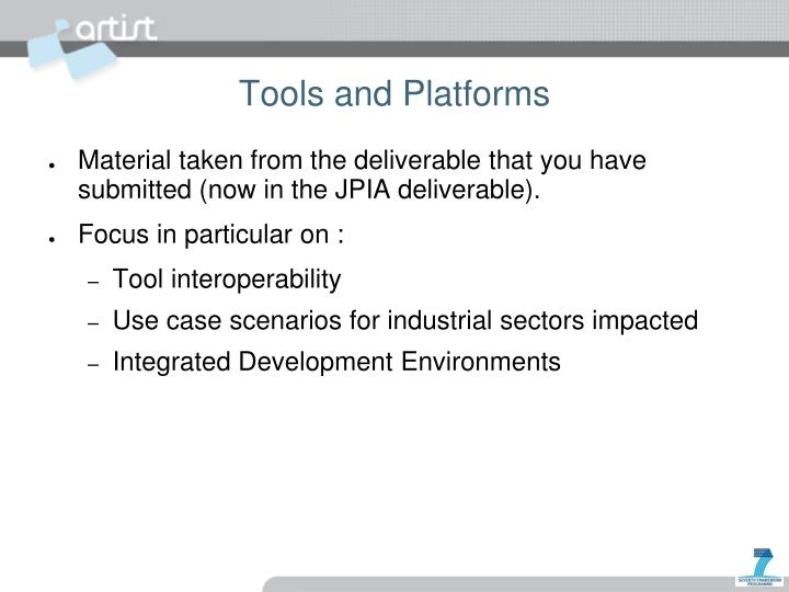 Tools and Platforms