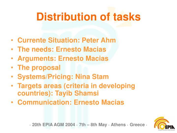 Distribution of tasks