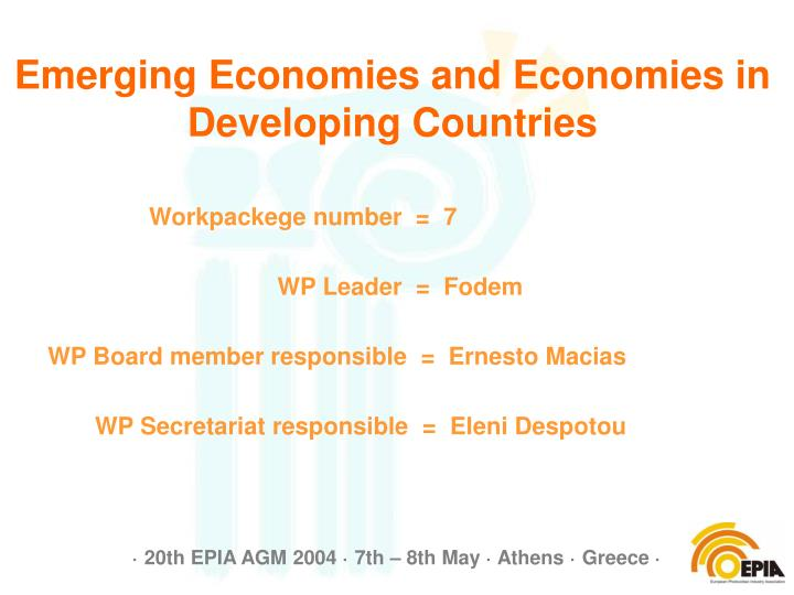 Emerging economies and economies in developing countries