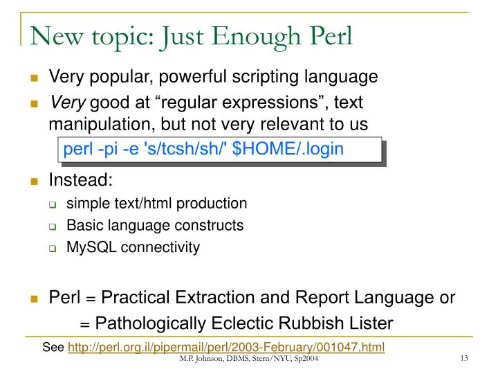 New topic: Just Enough Perl