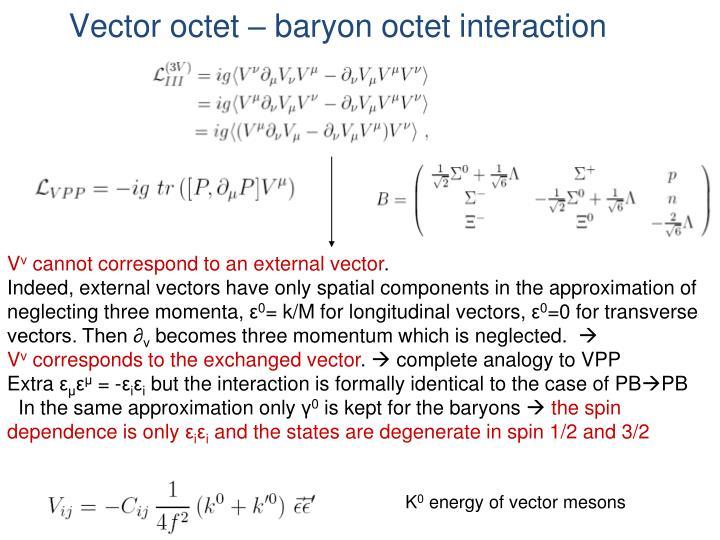 Vector octet – baryon octet interaction