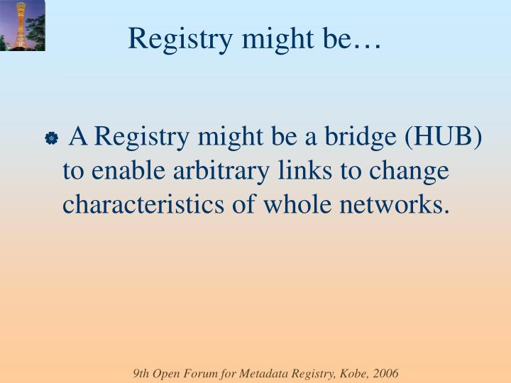A Registry might be a bridge (HUB) to enable arbitrary links to change characteristics of whole networks.
