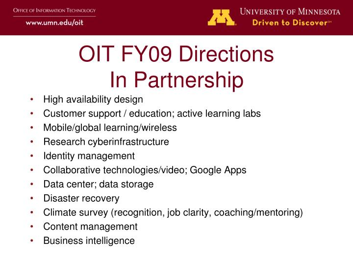 OIT FY09 Directions