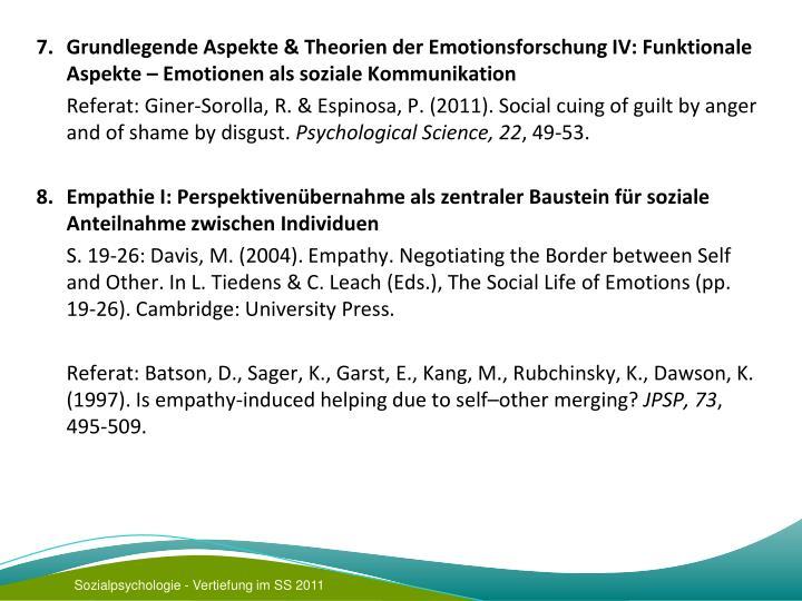 7. Grundlegende Aspekte & Theorien der Emotionsforschung IV: Funktionale Aspekte – Emotionen als soziale Kommunikation