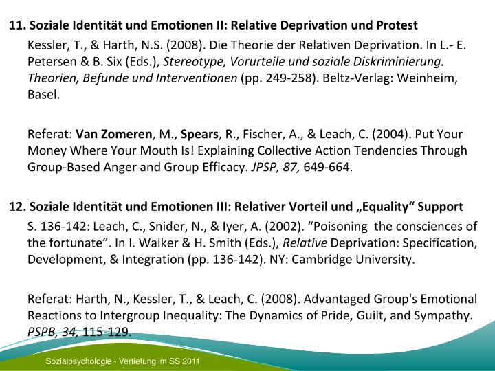 11. Soziale Identität und Emotionen II: Relative Deprivation und Protest