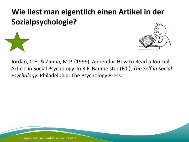 Wie liest man eigentlich einen Artikel in der Sozialpsychologie?
