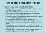 end of the formative period