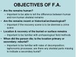 objectives of f a