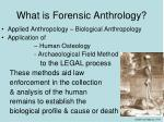 what is forensic anthrology