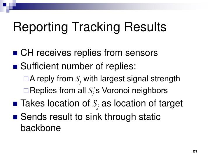 Reporting Tracking Results