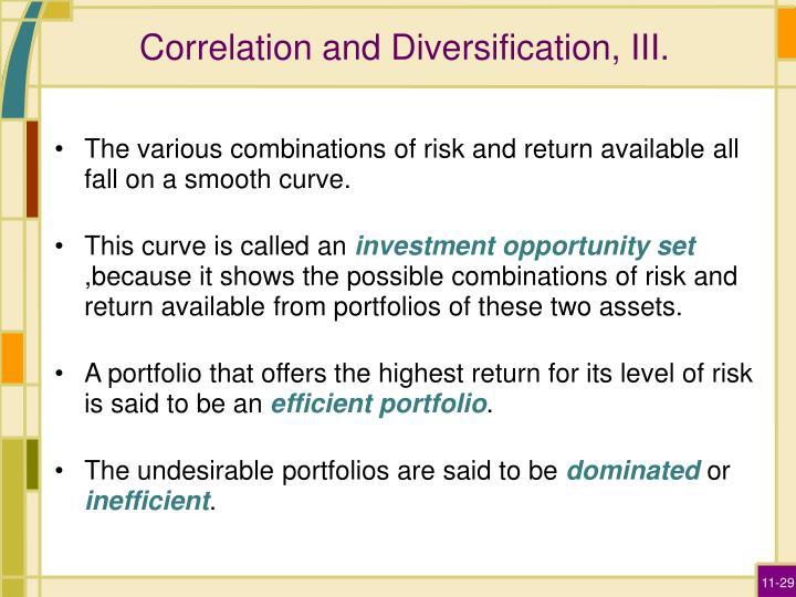 Correlation and Diversification, III.