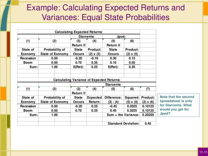 Example: Calculating Expected Returns and Variances: Equal State Probabilities