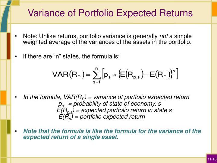 Variance of Portfolio Expected Returns