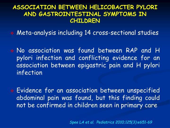 ASSOCIATION BETWEEN HELICOBACTER PYLORI AND GASTROINTESTINAL SYMPTOMS IN CHILDREN