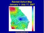 rainfall deficit map january 1 july 17 2007