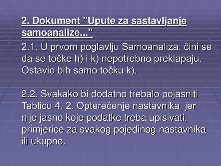 """2. Dokument """"Upute za sastavljanje samoanalize..."""""""
