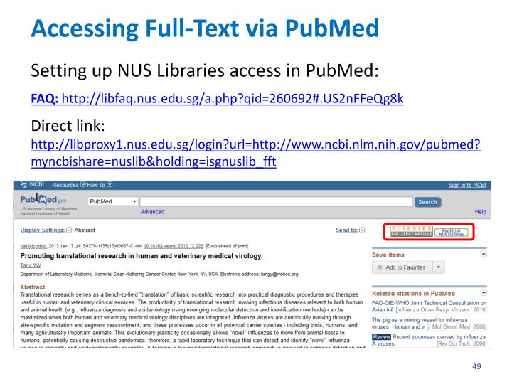 Accessing Full-Text via PubMed